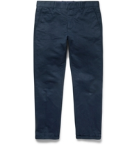 Marni Slim Fit Cotton And Linen Blend Trousers Blue