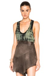 Roberto Cavalli Dyed Tank Top In Green Ombre And Tie Dye