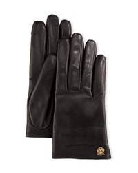 Gucci Leather Tiger Trim Gloves Black