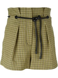 3.1 Phillip Lim Origami Pleat Houndstooth Shorts Yellow And Orange