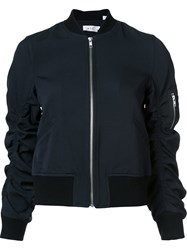 A.L.C. Ruched Sleeve Bomber Jacket Black
