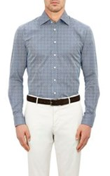 Etro Micro Square Striped Dress Shirt Colorless