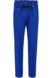 Milly Belted Cropped Pique Slim Leg Pants Blue