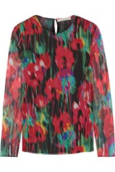 Jason Wu Printed Silk Chiffon Top Red