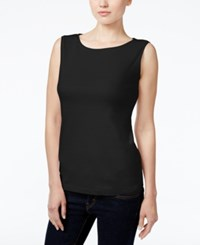 Karen Scott Petite Boat Neck Tank Top Only At Macy's Deep Black