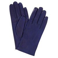 John Lewis Fleece Lined Leather Gloves Cobalt