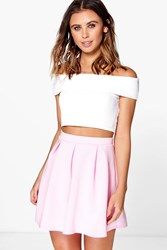 Boohoo Solid Colour Box Pleat Skater Skirt Pale Pink