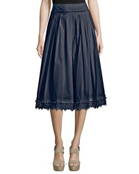 Derek Lam Pleated Lace Trim Cotton Midi Skirt Midnight Black Women's