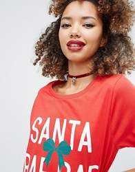 Asos Christmas Velvet Choker With Bauble Red
