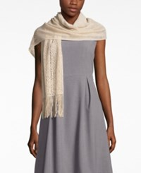 Inc International Concepts Metallic Crochet Fringe Wrap Only At Macy's Champagne
