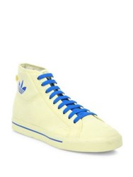 Raf Simons Lace Up Style High Top Sneakers Ivory Blue