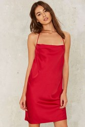 Motel Gellar Satin Slip Dress Red