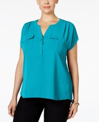 Inc International Concepts Plus Size Mixed Media Utility Shirt Only At Macy's Teal Glow