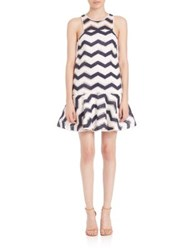 Milly Jillian Chevron Jacquard Dress Navy