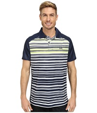 Cinch Athletic Tech Polo Striped Shirt Navy Men's Short Sleeve Pullover