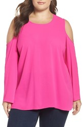 Vince Camuto Plus Size Women's Cold Shoulder Blouse Pop Pink