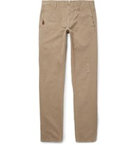 Incotex Slim Fit Distressed Cotton Twill Trousers Sand