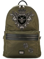 Dolce And Gabbana Bee Crown 'Volcano' Backpack Green