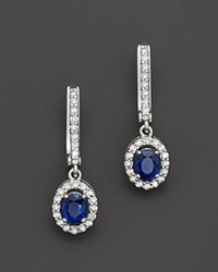 Bloomingdale's Sapphire And Diamond Oval Drop Earrings In 14K White Gold
