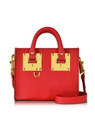 Sophie Hulme Coral Red Albion Saddle Leather Box Tote Bag