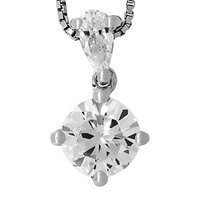 Jools By Jenny Brown Round Solitaire Cubic Zirconia Pendant Necklace Silver