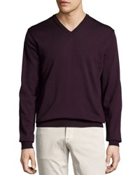 Neiman Marcus Wool V Neck Sweater Port
