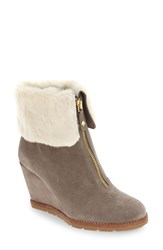 Kate Spade Women's 'Stasia' Faux Shearling Wedge Bootie Portabella