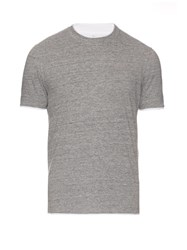Brunello Cucinelli Cotton Jersey Double Layer T Shirt Light Grey