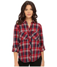 Blank Nyc Plaid Shirt Red Navy Blue Beige Women's Clothing