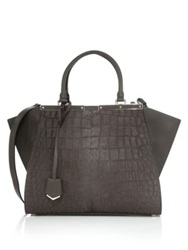 Fendi 3Jours Crocodile Embossed Calf Hair And Leather Shopper Grey Black