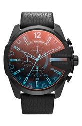 Diesel 'Mega Chief' Chronograph Leather Strap Watch 51Mm Black Iridescent Crystal