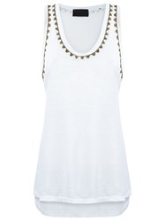 Andrea Bogosian Embroidered Tank Top White