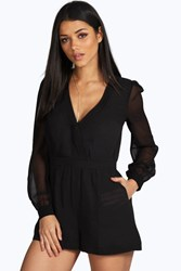 Boohoo Gathered Front Chiffon Long Sleeve Playsuit Black