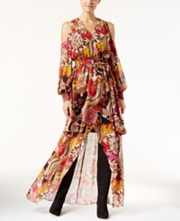 Inc International Concepts Cold Shoulder Printed Maxi Dress Only At Macy's Real Red