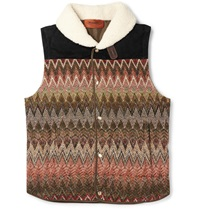Missoni Shearling Collar Zigzag Crochet Knit Gilet Green