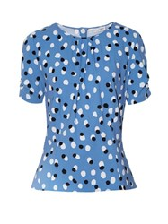 Altuzarra Kelly Polka Dot Stretch Cady Top Mid Blue