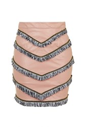 Empire Leather Fringe Skirt By Goldie Blush