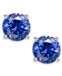 B. Brilliant Periwinkle Cubic Zirconia Stud Earrings In Sterling Silver 2 Ct. T.W.
