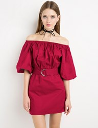 Pixie Market Margo Red Belted Off The Shoulder Dress