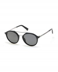 Ermenegildo Zegna Acetate And Titanium Double Bar Round Sunglasses Black