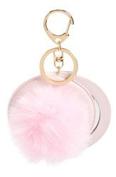 Women's Topshop Fluffy Pom Key Ring With Mirror