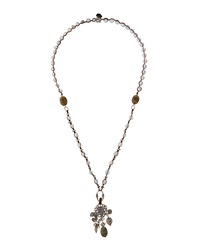 Love Heals Labradorite And Pearl Beaded Pendant Necklace W Onyx