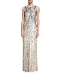 Jenny Packham Sleeveless Sequined Burnout Gown Dawn Gold Dawn Gold