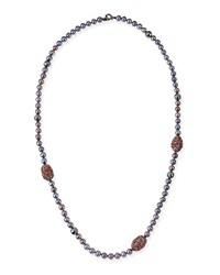Long Black Pearl Necklace With Hematite Enamel And Sapphire Mcl By Matthew Campbell Laurenza