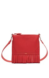 Bertoni1949 Fringe Zip Pouch Shoulder Bag Red