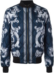 Versace 'Lenticular Foulard' Quilted Bomber Jacket Blue
