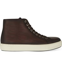 Magnanni Leather High Top Trainers Brown