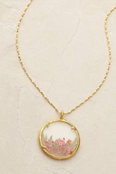 Catherine Weitzman Rosa Pendant Necklace Red Motif