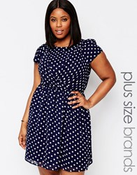 Koko Plus Skater Dress In Polka Dot Navy White