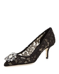 Dolce And Gabbana Jewel Embellished Lace Pump Black Nero